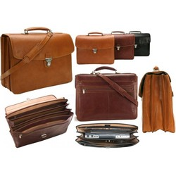 Double Gusset Bella Russo 17 Inch Laptop Briefcase