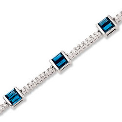 14K Baguette Blue Sapphire and Diamond Tennis Bracelet