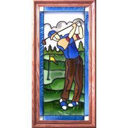 Male Golfer Stained Glass Window
