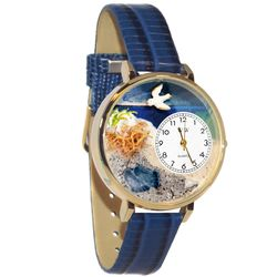 Footprints Whimsical Watch in Large Gold Case