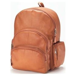 Multi-Compartment Leather Backpack