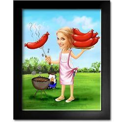 Wiener Roast Caricature Print from Photo