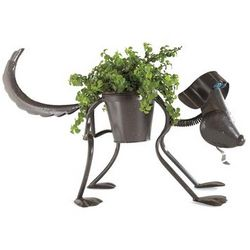 Handcrafted Metal Puppy Planter