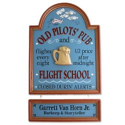 Old Pilots Pub and Flight School Personalized Sign