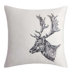 Moose Square Embroidered Pillow