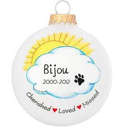 Cherished Love Pet Memorial Glass Ball Ornament