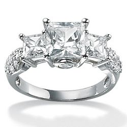 Princess-Cut Cubic Zirconia 10K White Gold 3-Stone Ring