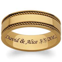 Engraved Gold Titanium Braided Polished Band