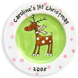 Girl's Personalized Rudolph Plate