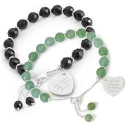 Gemstone Facet Heart Bracelet with Engravable Heart Charm