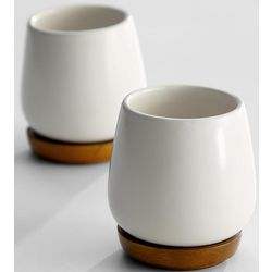 Ivory Ceramic Tea Cups with Wooden Saucers