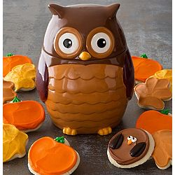 Owl Cookie Jar with Decorated Cookies