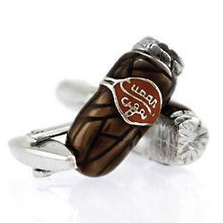 Rhodium Plated Cigar Cuff Links