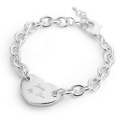 Engravable Classic Heart Tag Bracelet with Filigree Jewelry Box