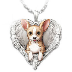 Chihuahuas Are Angels Heart-Shaped Pendant