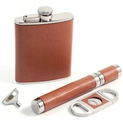 Leather Flask, Cigar Case and Cutter Set