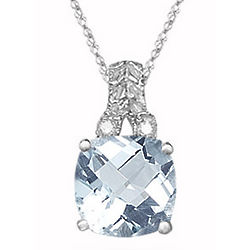 Checkerboard Aquamarine & Diamond Filigree Pendant