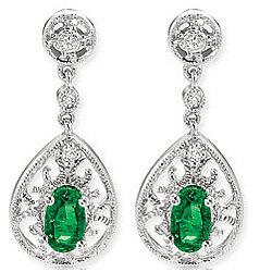14k W Gold Filigree Oval Emerald Drop Diamond Earrings