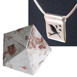 Silver Bird Pendant in a Paper Anniversary Origami Box
