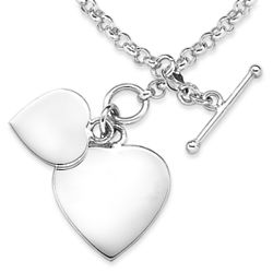 Personalized Sterling Silver Engraved Double Heart Bracelet