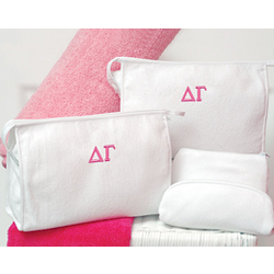 Greek Personalized Terry Cloth Cosmetic Bag Set