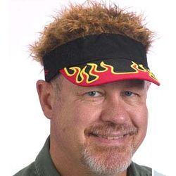 Flair Hair with Brown Hair and Flame Visor