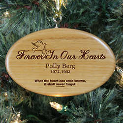 Engraved Forever In Our Hearts Wooden Oval Ornament