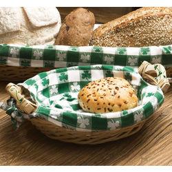 Round Shamrock Wicker Bread Basket