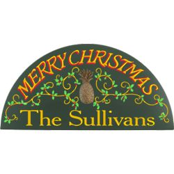 Handcrafted Merry Christmas Personalized Wall Sign