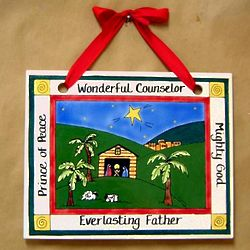Hanging Nativity Christmas Tile