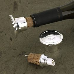 Personalized Silver Plated Wine Bottle Stopper and Pourer