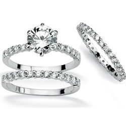 Cubic Zirconia Platinum Over Sterling Silver Engagement Ring Set