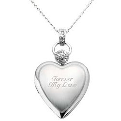 Engraved Platinum Heart Locket