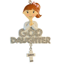 Personalized Goddaughter Christmas Ornament with Dangling Cross