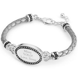 Grey Oval Leather ID Bracelet