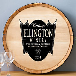 Family Crest Wood Wine Barrel Sign