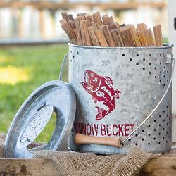 Vintage Metal Minnow Bucket with Fatwood