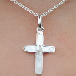 Diamond and Mother of Pearl Girl's Cross Necklace
