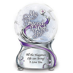 Musical Glitter Globe for Friend with Swarovski Crystal