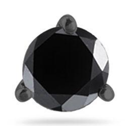 Men's Round Black Diamond Stud Earring in White Blackened Gold