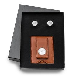 Personalized Classic Round Cufflink and Wallet in Brown Leather