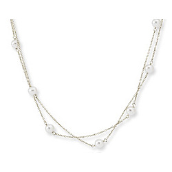 14k White Gold 20 Inch Two Strand Fine Pearl Necklace
