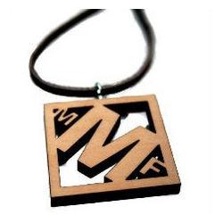 3D Monogram Wood Necklace