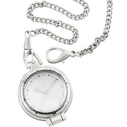 Silver Clip-It Pocket Watch with Magnifier