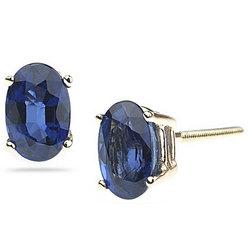 Blue Sapphire Stud Earrings in 14K Yellow Gold