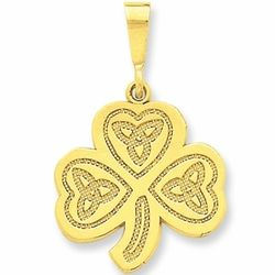 14k Gold Trinity Knot Clover Pendant