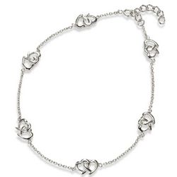 Interlocking Loving Hearts Anklet in Sterling Silver