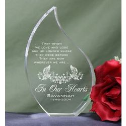 Engraved In Our Hearts Memorial Tear Plaque