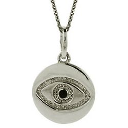 Sterling Silver Evil Eye Pendant Necklace