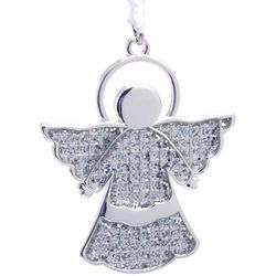 Personalized Sparkling Silver Angel Ornament